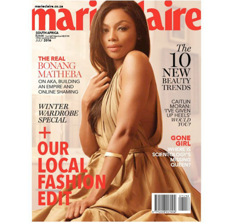 Bonang Matheba Covers Marie Claire SA July 2016