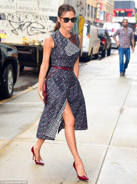 Victoria Beckham models her own design