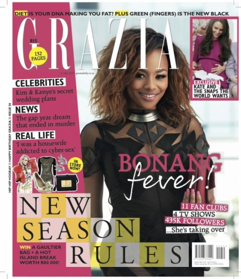 Bonang Matheba Covers Grazia SA's 1st Birthday Issue