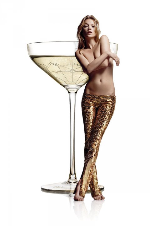 Kate Moss Moulds her Breast into a Champagne Glass!