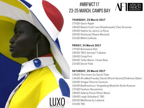 #MBFWCT Designer Show Schedule