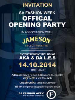 Party with Jameson at SA Fashion Week