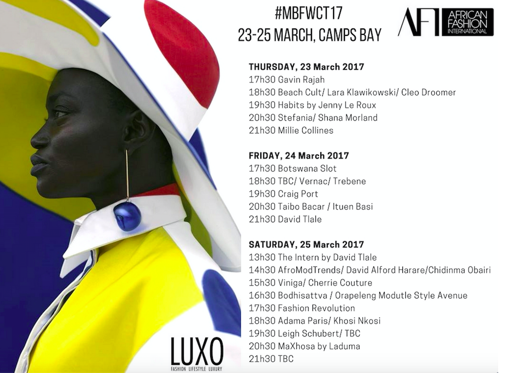 MBFWCT Show Schedule 2017 LUXO