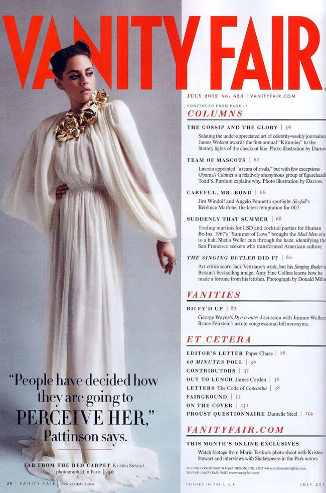 Kristen Steward goes couture for Vanity Fair July 2012