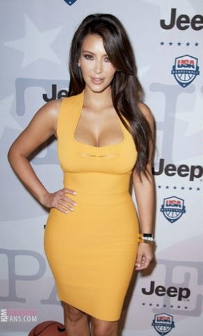 Kim Kardashian in must have orange