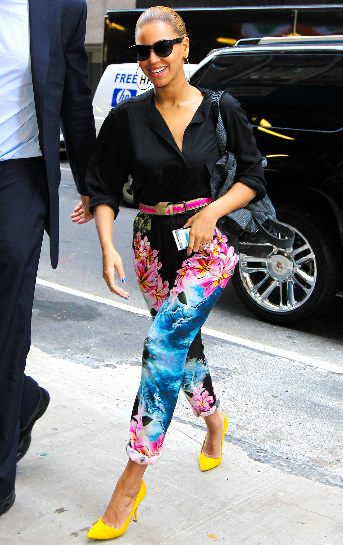 Beyonce wearing the must have floral trousers