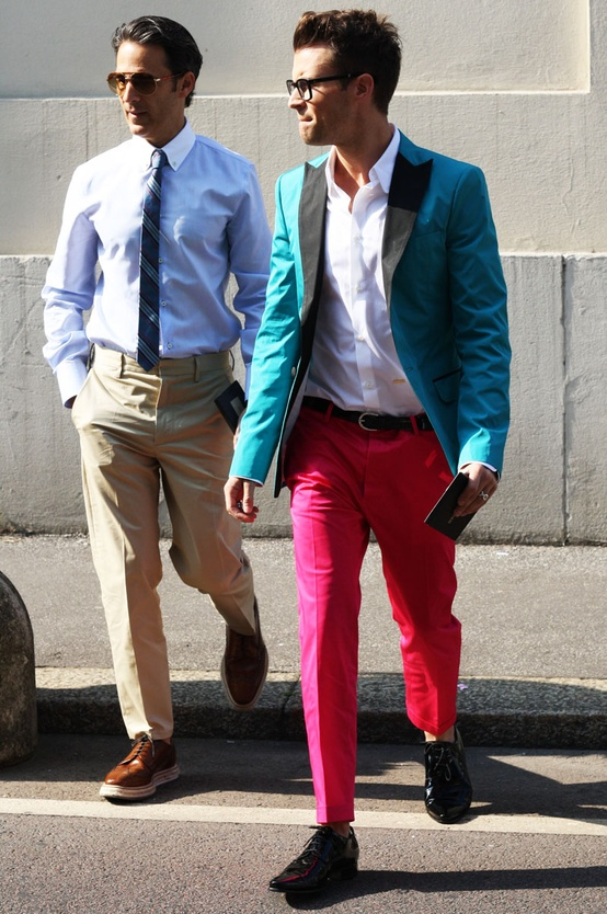 Coloured pants trend for guys summer 2013