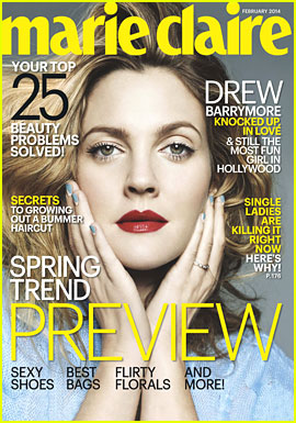 drew barrymore for marie claire feb 2014