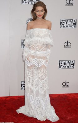 Gigi Hadid is a Vision in White at The AMA'S