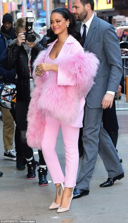 Rihanna in Aanother All-Pink Ensemble